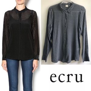 ecru | gray laser cut silk blouse